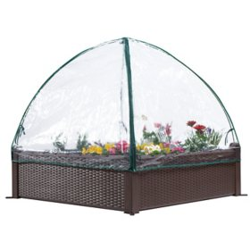 "Ogrow 39"" Square Raised Garden Bed Wicker Design with Premium Canopy Cover"
