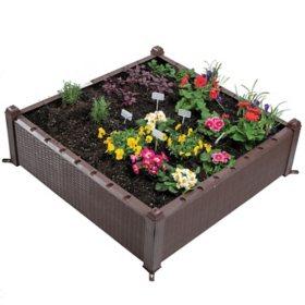 "Ogrow 39"" Square Raised Garden Bed Wicker Design"