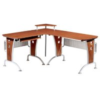 Techni Mobili Deluxe L-Shaped Computer Desk With Pull-Out Keyboard Panel, Mahogany