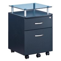 Techni Mobili Rolling File Cabinet with Glass Top, Assorted Colors