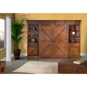 Farm Door Entertainment Wall, Dark Chocolate