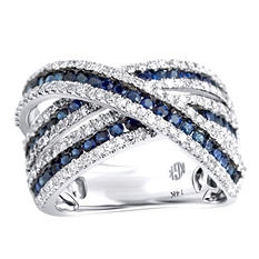 Sapphire and Diamond Criss-Cross Ring In 14K White Gold