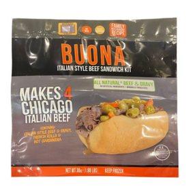 Buona Italian Style Beef Sandwich Kit, Frozen (30 oz.)