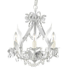 Harrison Lane Wrought-Iron and Crystal White Floral 4-Light Chandelier