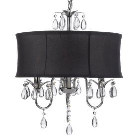 Harrison Lane 3-Light Chandelier with Crystals and Large Black Shade