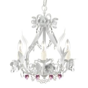 Harrison Lane Wrought-Iron and Crystal Floral White Chandelier with Pink Crystal Hearts