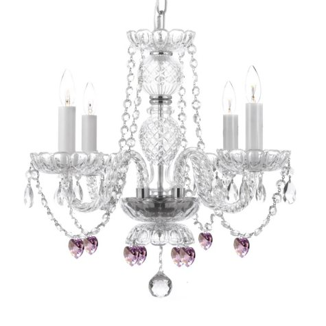 Harrison Lane Venetian Style Crystal Chandelier with Pink Crystal Hearts