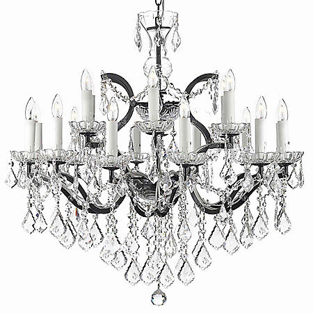 Harrison Lane Baroque Wrought Iron and Crystal 18 Light Chandelier