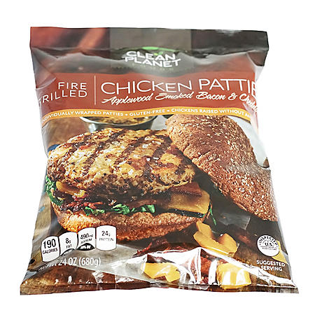 Clean Planet Foods Applewood Smoked Bacon and Chedder Patties (1.5 lbs, 6 ct.)