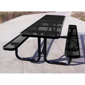 Leisure Craft 8' Rectangular Expanded Metal Picnic Table (Assorted Colors)