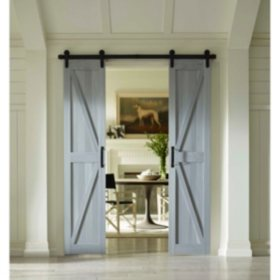Four Seasons Outdoor Product's Split Barn Door, Charleston Grey Board and Batten (Select Sizes)