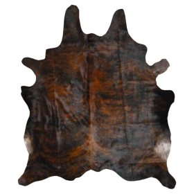 Decohides Real Cowhide Rug, Dark Brindle