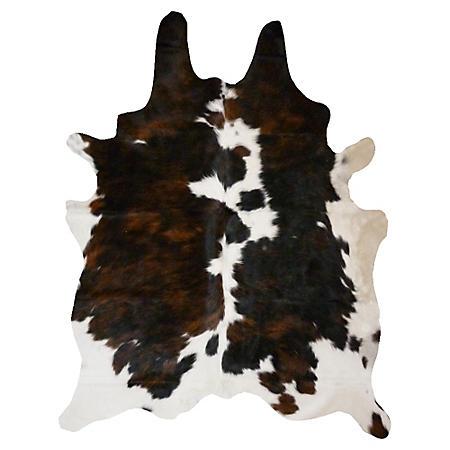 Decohides Real Cowhide Rug, Dark Brindle and White