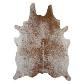 Decohides Real Cowhide Rug, Salt and Pepper Brown and White