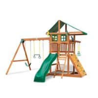 Gorilla Playsets Avalon Treehouse Wood Swing Set with Vinyl Canopy and Trapeze Arm