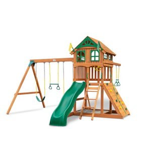 Gorilla Playsets Avalon Wood Swing Set with Wood Roof and Trapeze Arm