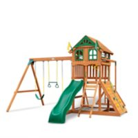Gorilla Playsets Avalon Wood Swing Set with Wood Roof and Monkey Bars