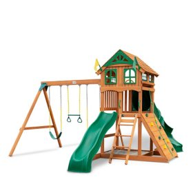 Gorilla Playsets Avalon Wood Swing Set with Wood Roof and Twister Tube Slide