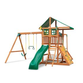 Gorilla Playsets Avalon Treehouse Wood Swing Set with Vinyl Canopy and Monkey Bars
