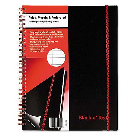 Black n' Red Polypropylene Twinwire Notebook, Margin Rule (70 Sheets/Pad)