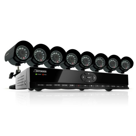 Defender 8-Channel H.264 DVR Security System with 8 CMOS Cameras