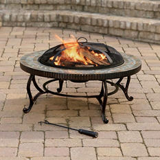"""Pleasant Hearth 34"""" Elizabeth Natural Slate Fire Pit with Copper Accents"""