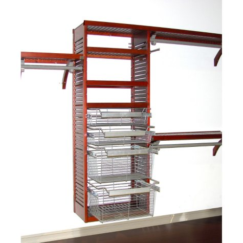 Deluxe Red Mahogany Packaged Closet Systems