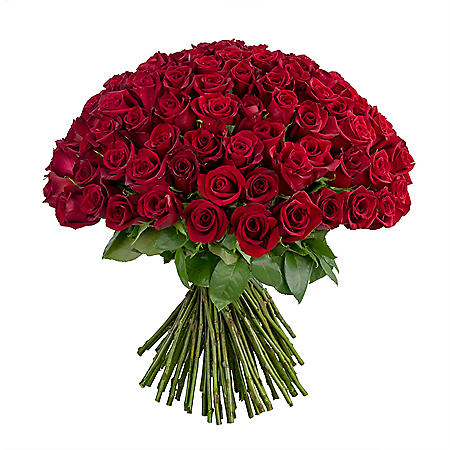 Mother's Day 100 Stems Rose Bouquet, Vase Included (Pre-Order)