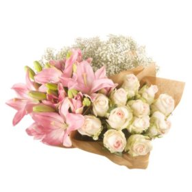 Build Your Own Bouquet - Pink Roses, Lilies, Gyp (96 stems)
