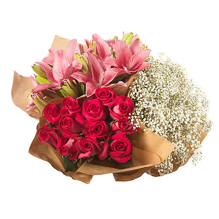 Mixed Farm Bunch - Hot Pink Roses, Lilies, Gypsophila (96 stems)