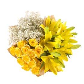 Mixed Farm Bunch - Yellow Roses, Lilies, Gypsophila (96 stems)