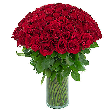 Rose Bouquet, Vase Included (100 stems)