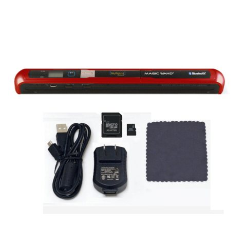 VuPoint Magic Wand Bluetooth Portable Scanner w/4GB microSD Card - Red