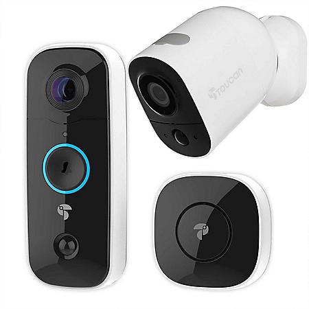 Toucan Wireless Video Doorbell + Outdoor/Indoor Surveillance Camera Bundle Pack