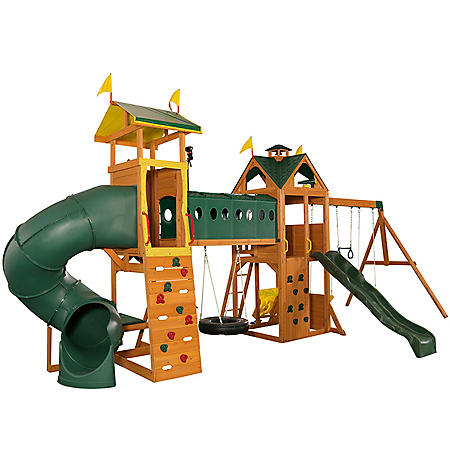 KidKraft Mockingbird View Wooden Swing Set / Playset with Tower, Hoop, Tunnel and Tire Swing