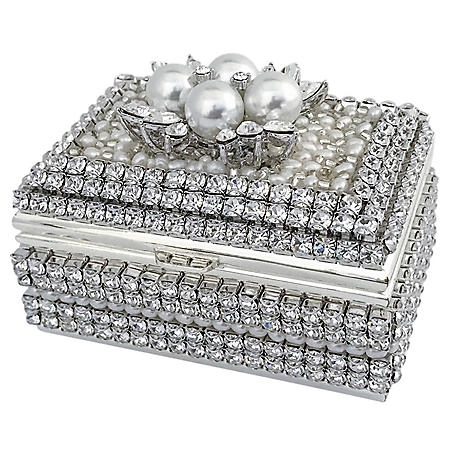 Isabella Adams 4 Pearls & Swarovski Crystal Ring Box