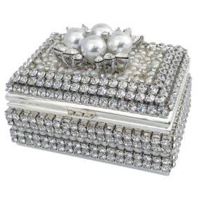 Isabella Adams 4 Pearls & Swarovski Crystal Ring Box