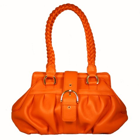 Isabella Adams Harmonie Leather Clutch - Harvest Orange