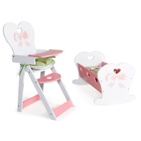 Bowtiful Kids Doll Set - Cradle and High Chair