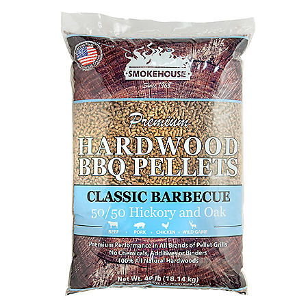 Premium Hardwood BBQ Pellets, Classic Barbecue Style 50/50 Oak-Hickory (40 lbs.)