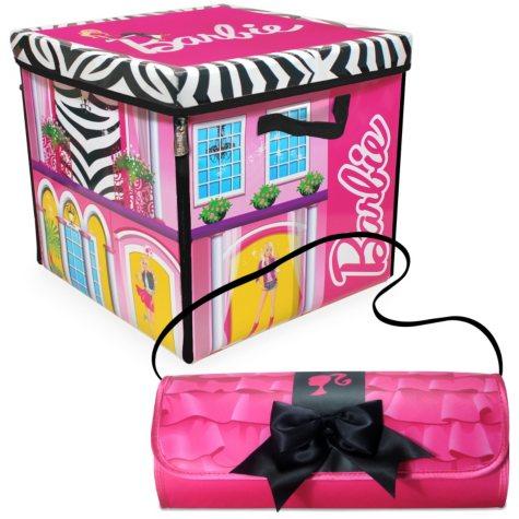 Barbie ZipBin Dream House Toybox & Barbie Clutch & Closet Combo