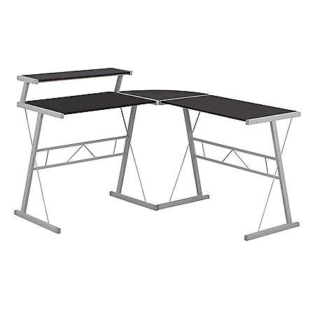 Computer Desk - Espresso Top/Silver Metal
