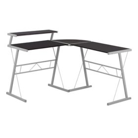 Computer Desk - Espresso Top/Silver Metal