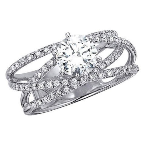 .90 ct. t.w. Crossing Bands Diamond Engagement Ring (H-I, I1)