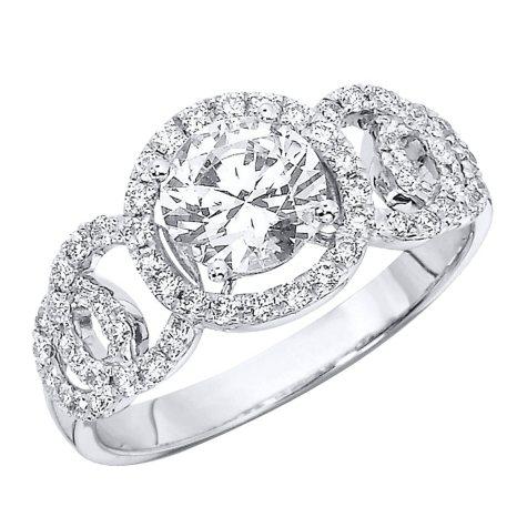 "1.40 CT.T.W. ""Circles"" Diamond Engagement Ring in 14K White Gold (H-I, I1)"