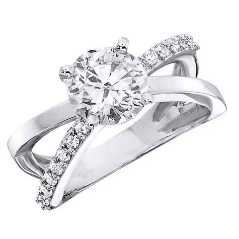 1.00 CT.T.W. Split Shank Diamond Engagement Ring in 14K White Gold (H-I, I1)