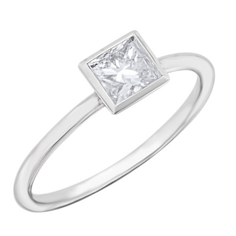 0.50 CT.T.W. Bezel Set Princess Diamond Engagement Ring in Platinum (H-I, SI2)