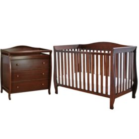 AFG Waverly 4-in-1 Convertible Crib and Grace 3-Drawer Changer, Espresso