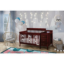 AFG Kimberly 3-in-1 Crib, Changer with Toddler Rail and Deluxe Mattress - Cherry