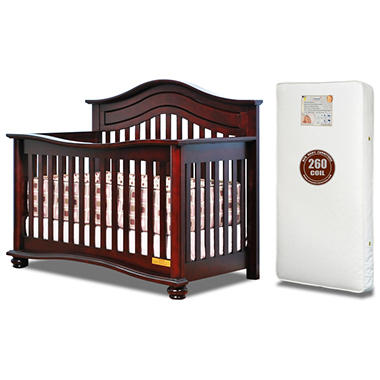 AFG Lia 3-in-1 Convertible Crib with 260-Coil Mattress, Cherry